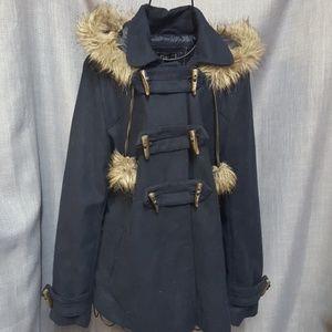 Rue21 Fur Hood Fur Tassel Peacoat NEW